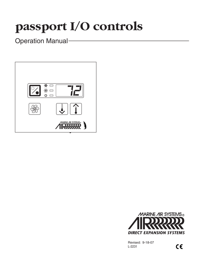 Dometic 2231 Marine Air Passport Control Operation Manual 21429