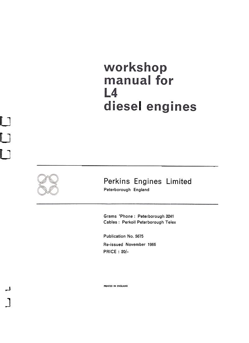 Perkins L4 Workshop Manual'