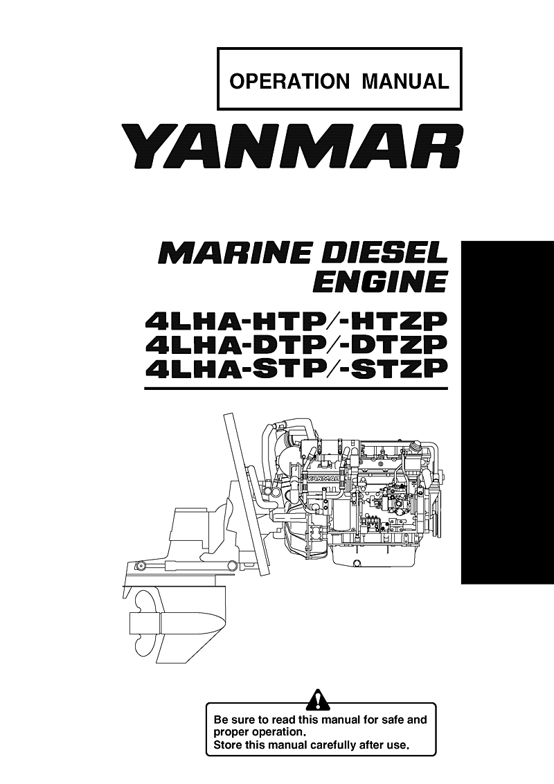 '4lha stzp: Yanmar Diesel Sterndrive Engine 240hp/179kw Bravo 3 Owners  Manual'