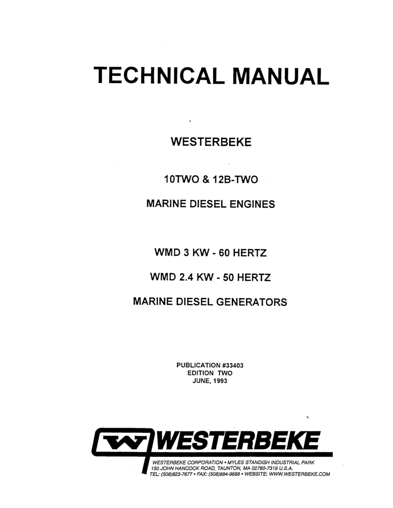 Westerbeke sel 12b Two Operator's Manual on