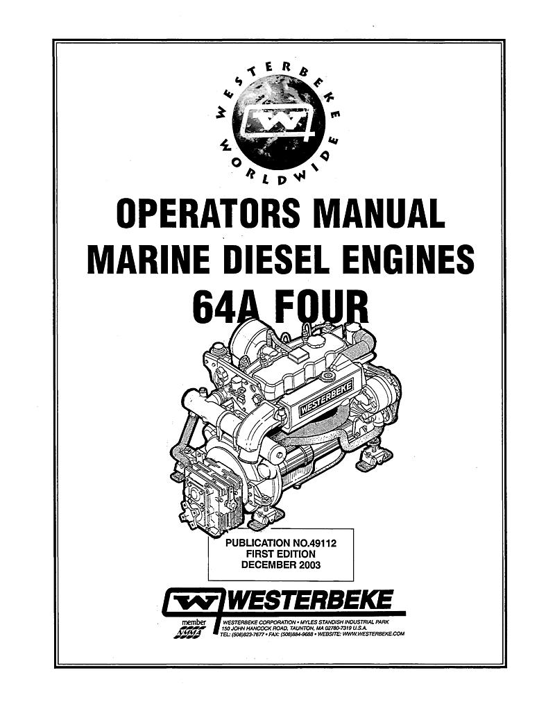 Westerbeke sel 63d Four Operator's Manual on