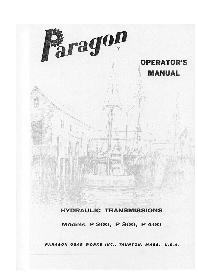 Paragon Hydraulic Transmission Models P200 P300 P400 Workshop Manual