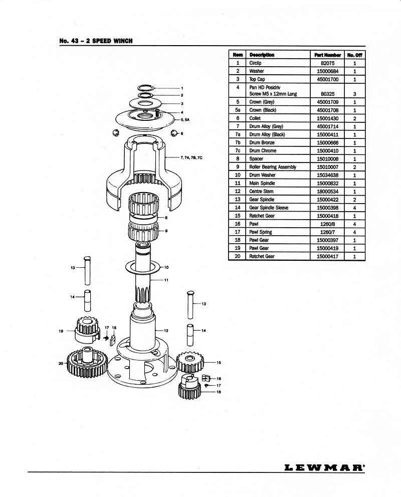 Winch Service Manual For Lewmar 43 2 Speed