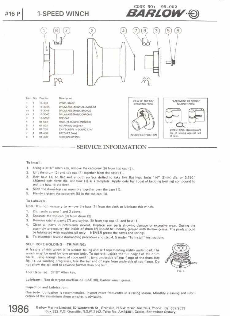 Lawn Mower Racing >> Winch Service Manual for Barlow No. 16P